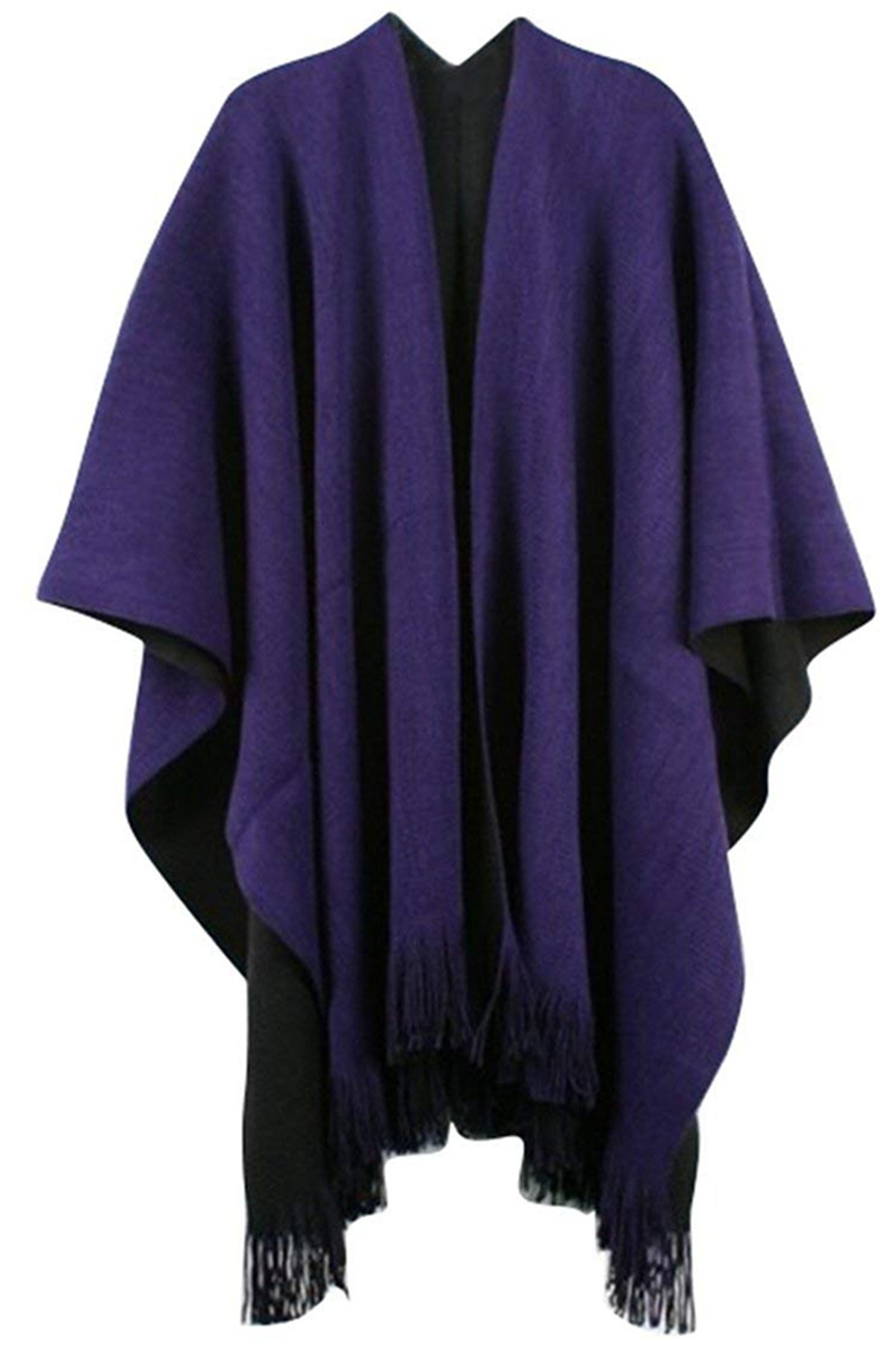 Women Winter Knitted Cashmere Poncho Capes Shawl Cardigans Sweater Coat (Purple)