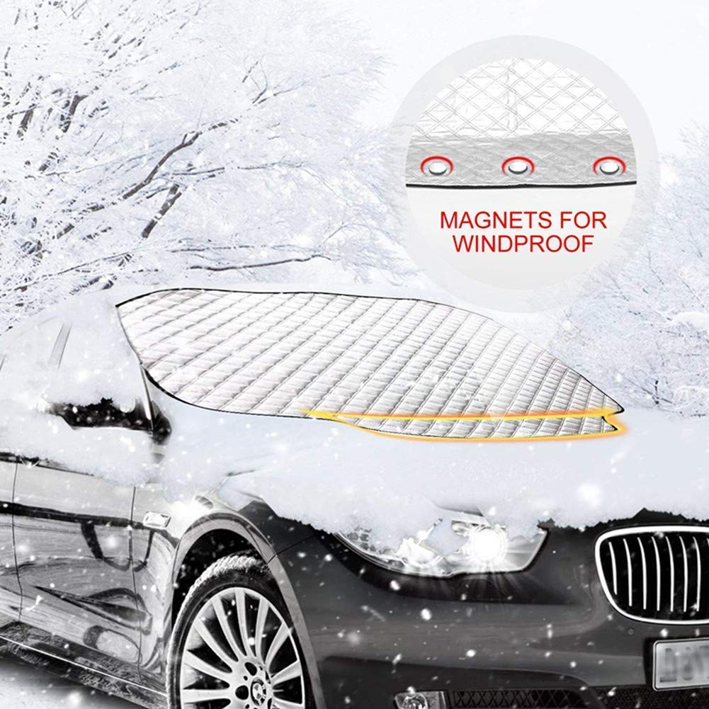 Cozywind Universal Car Windscreen Frost Cover Magnetic Windshield UV Guard for All Weather With Two Anti-theft Ears 183 116 CM