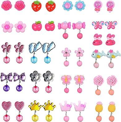 YADOCA 7 21 Paare Kinder Mädchen Ohrclips, Clip on Kristall Ohrringe Mädchen Spielen Ohrringe Prinzessin Clip auf Ohrringe Set für Party Gefallen