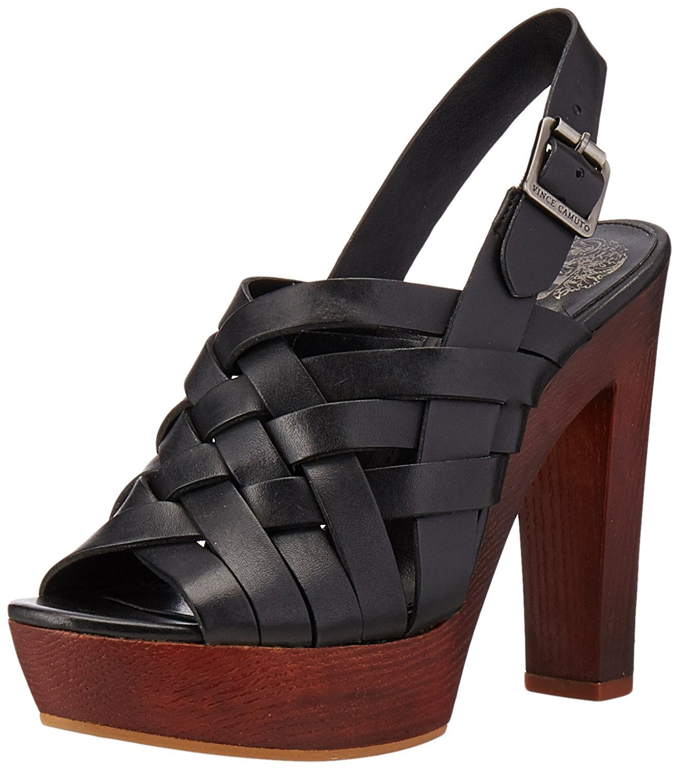 Vince Camuto Womens Elyza Open Toe Casual Leather Platform Sandals, Black, Size 10