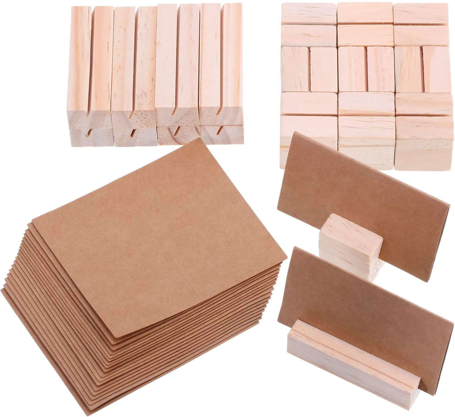 Boao 20 Pieces Wood Place Card Holders Wooden Table Number Holder Memo Stand with 20 Pieces Kraft-Paper Tent Seating Card for Wedding Dinner Party Decoration