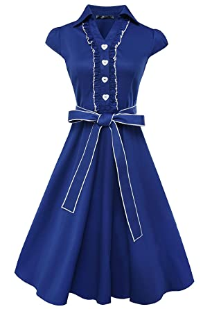 Anni Coco® Women's 1950s Cap Sleeve Swing Vintage Party Dresses ...