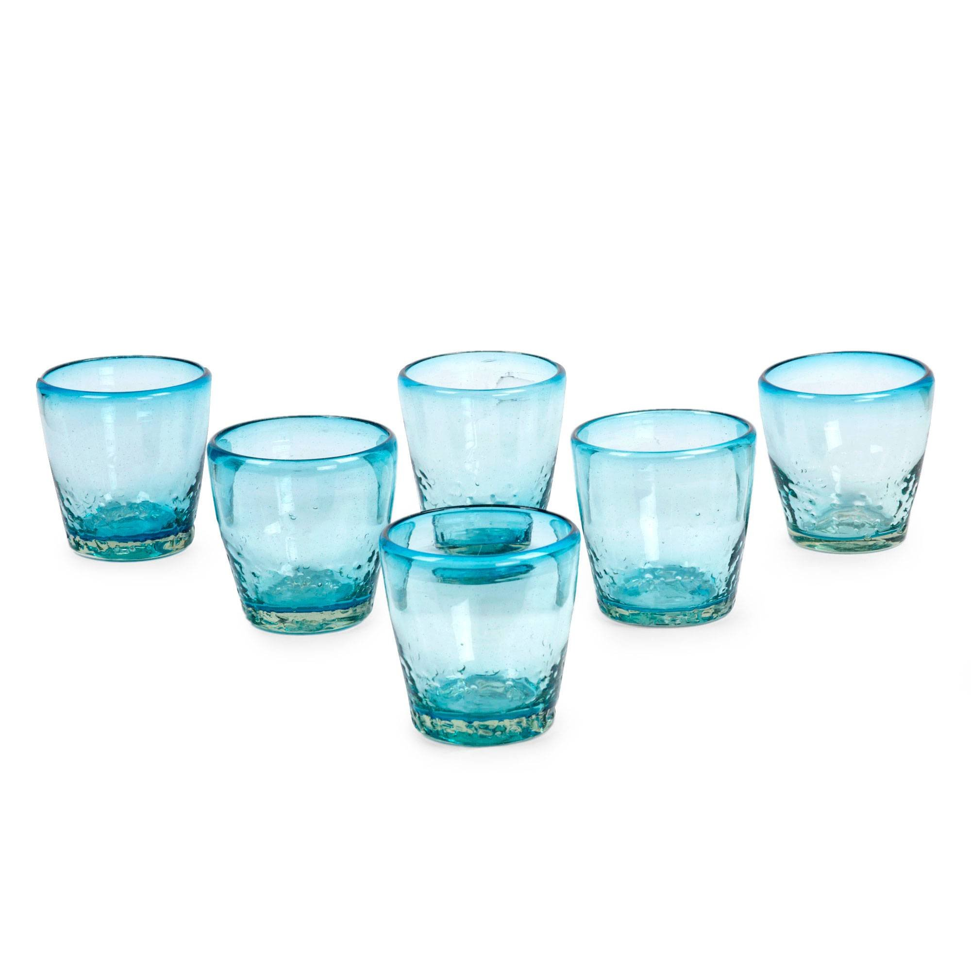 NOVICA Hand Blown Light Blue Glass Juice Glasses, 11 oz. 'Delicious Blue' (set of 6)