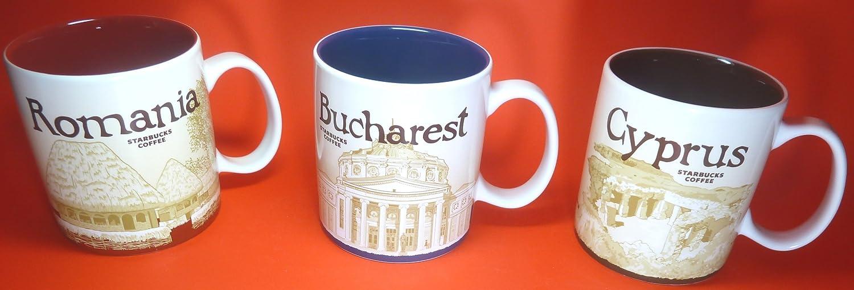 Starbucks 3 ciudad tazas - Rumanía, BUCAREST, Chipre - Producto nuevo, 16 Fl Oz/473 ml, Collectibles: Amazon.es: Hogar