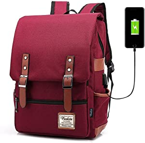Professional Laptop Backpack, Women Vintage USB College School Bookbag - Wine