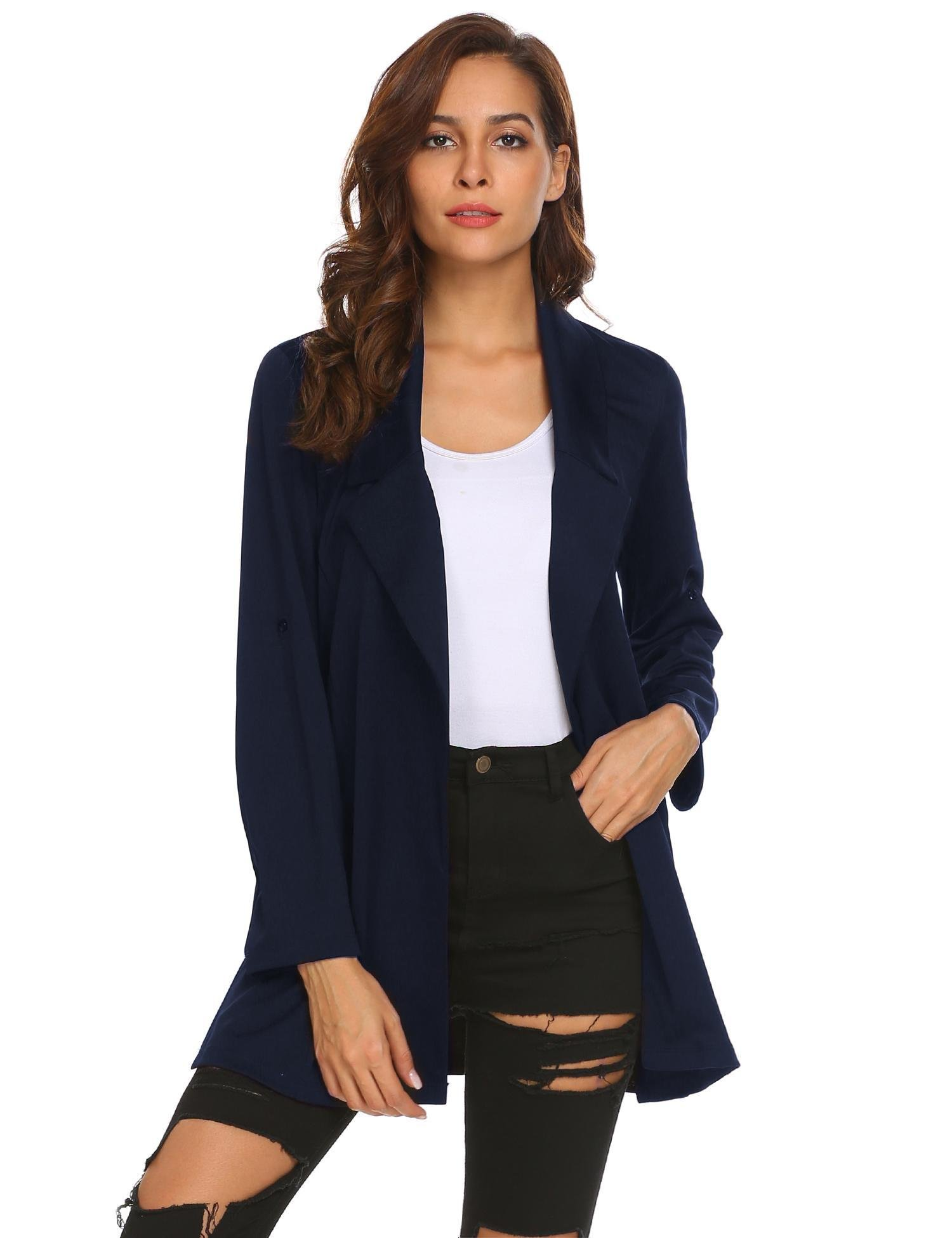 Zeagoo Womens Casual Work Office Open Front Long Blazer Jacket, Navy Blue, X-Large