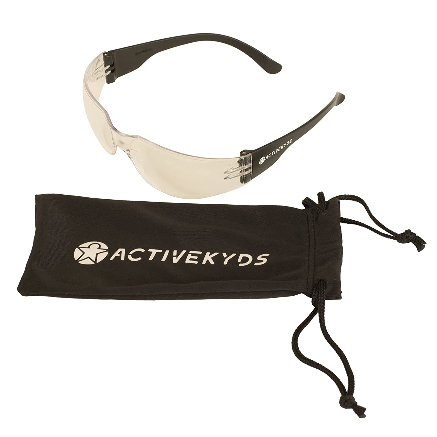 Active Kyds Safety Glasses for Kids Construction Costumes or Protective Eyewear with Microfiber Pouch
