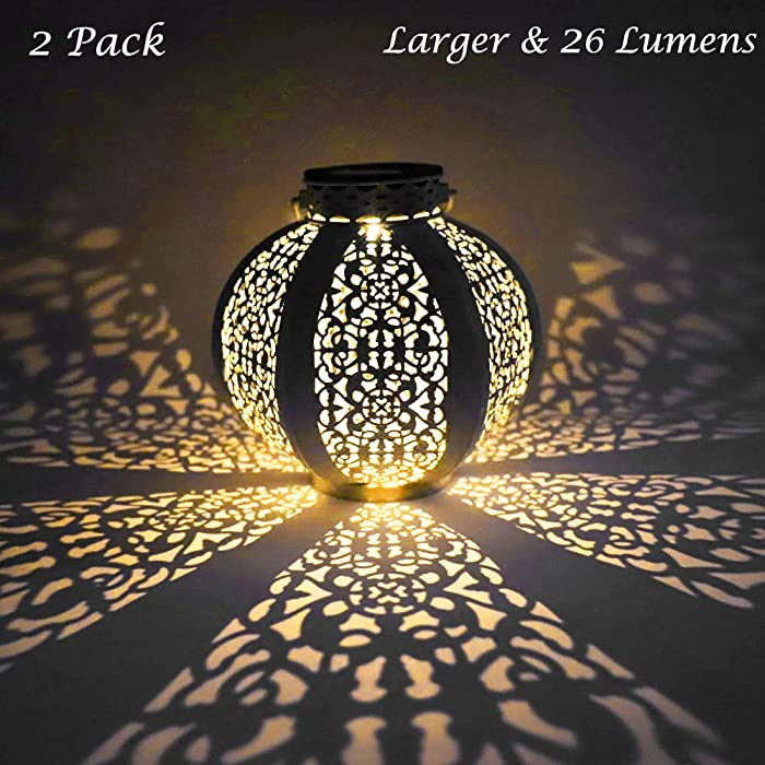 LVJING 26 Lumens Solar Lantern Outdoor Decorative Retro Solar Hanging Lights with Handle, Warm Light for Garden Patio Path Landscape Driveway Walkway Tree (2 Pack & White Metal is Bigger)