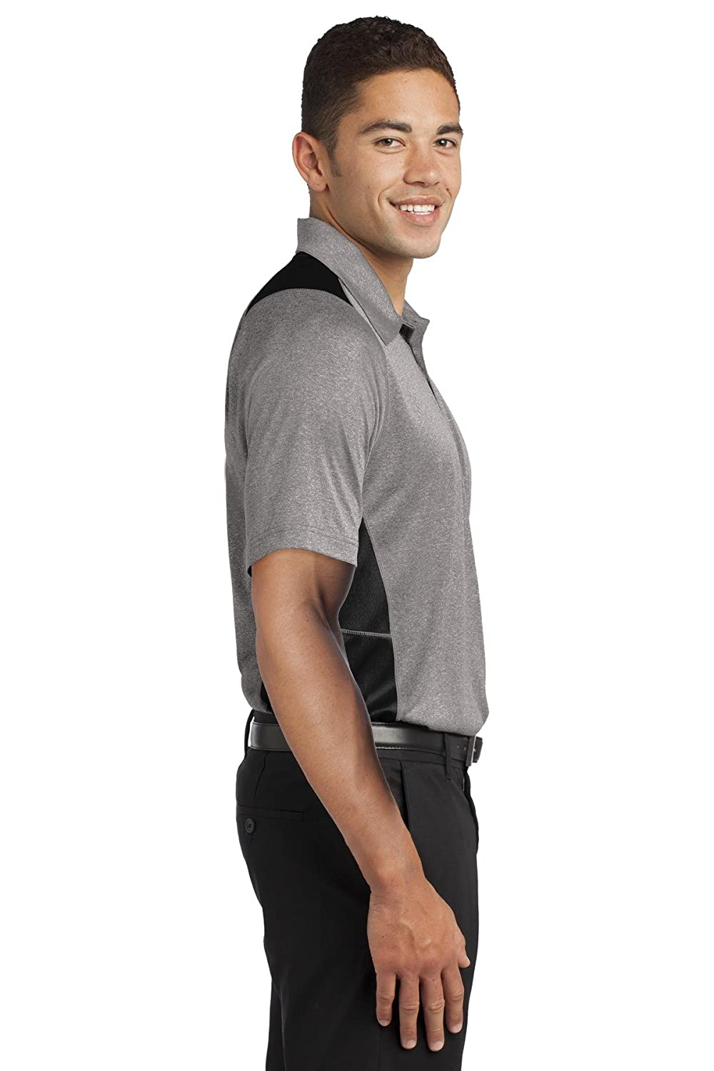 Sport-Tek Mens Heather Colorblock Contender Polo