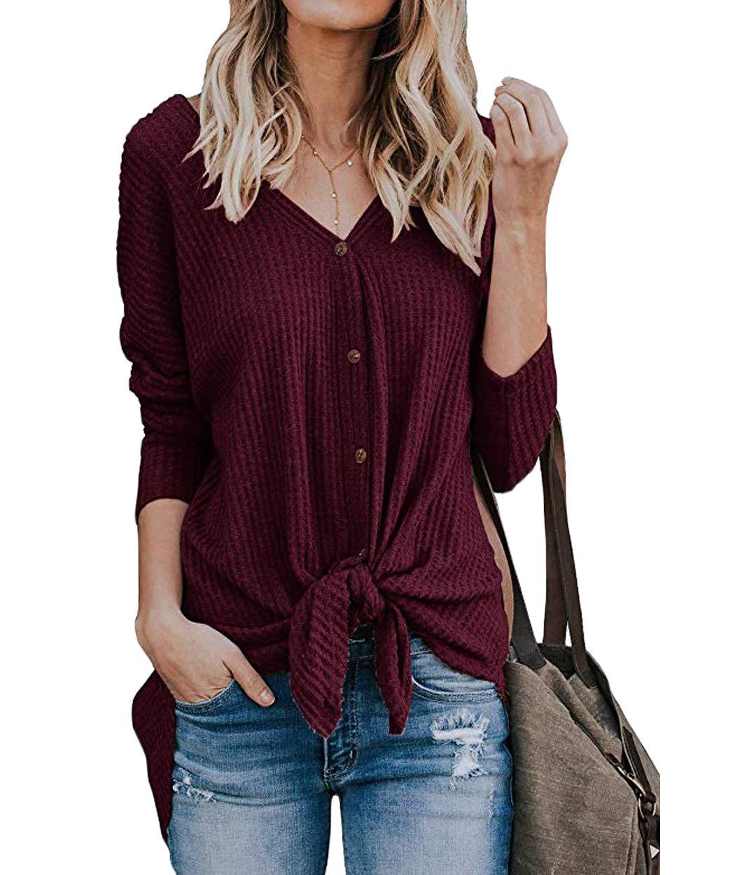 2a0e5415fc5d24 Eanklosco Tie Knot Tops Womens Waffle Knit V Neck Blouse Button Down Long  Sleeve Henley Shirt