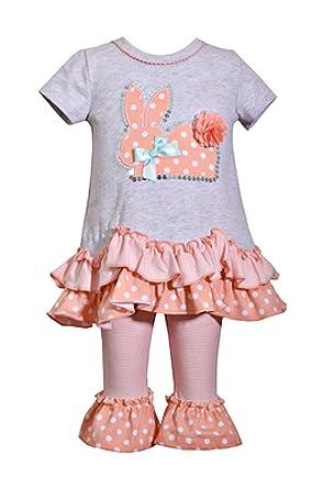 136fbe883 Amazon.com: Bonnie Baby Peach Dot Ruffle Bunny Knit Set: Clothing