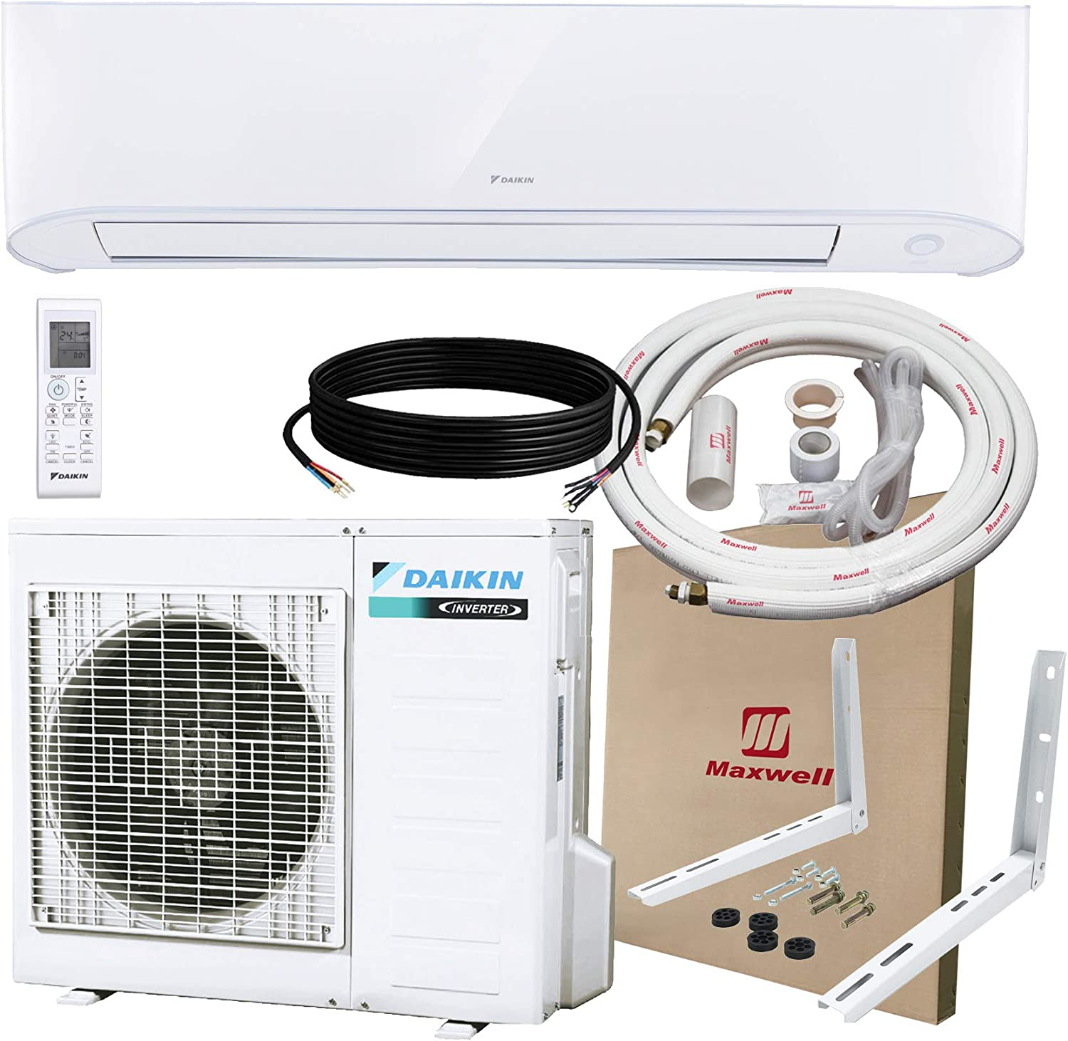 DAIKIN 12,000 BTU 17 SEER Wall-Mounted Ductless Mini-Split A/C Heat Pump System Maxwell 15-ft Installation Kit & Wall Bracket (230V) 10 Year Limited Warranty (12,000 BTU_208-230V)