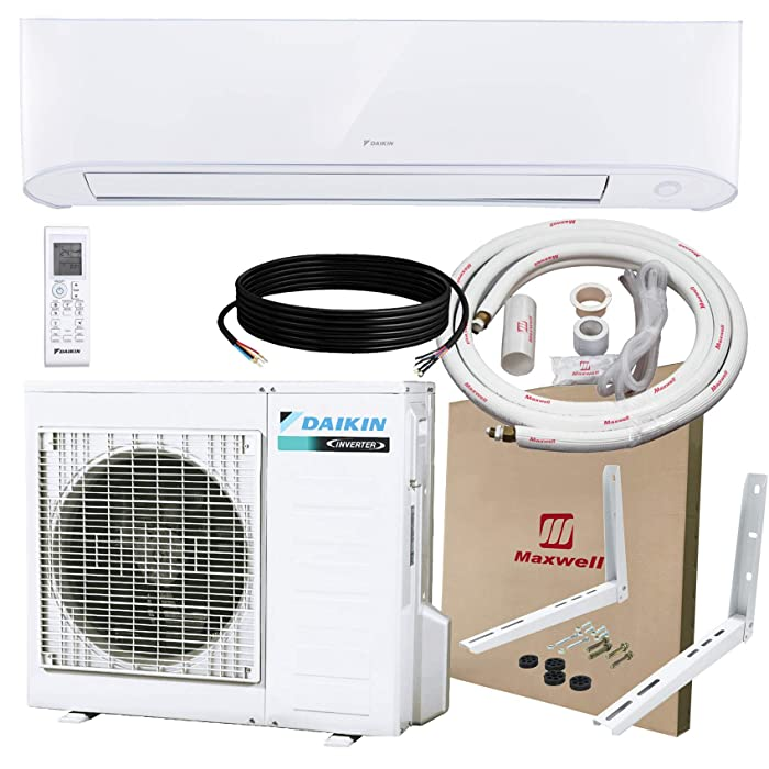 DAIKIN 18,000 BTU 17 SEER Wall-Mounted Ductless Mini-Split A/C Heat Pump System Maxwell 15-ft Installation Kit & Wall Bracket (230V) 10 Year Limited Warranty (18,000 BTU_208-230V)