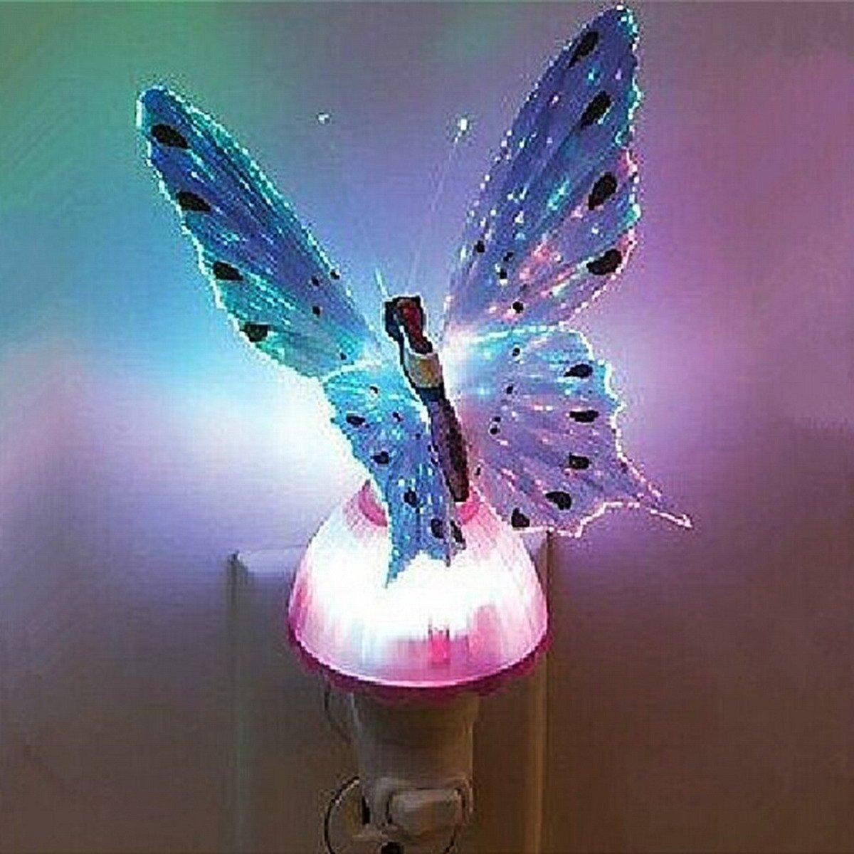 LED Night light,WONFAST Fiber Butterfly Kids Night light Plug type LED color changing night light for Bedroom, Living Room,Baby Room(Purple)