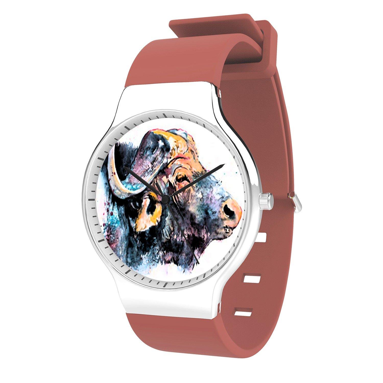 FELOOWSE Buffalo Watch Men'S Quartz Watches, Minimalist Slim Japanese Quartz Youth Silicone Watches, Fashion PracticalWaterproof Boys Watch Customized Watches