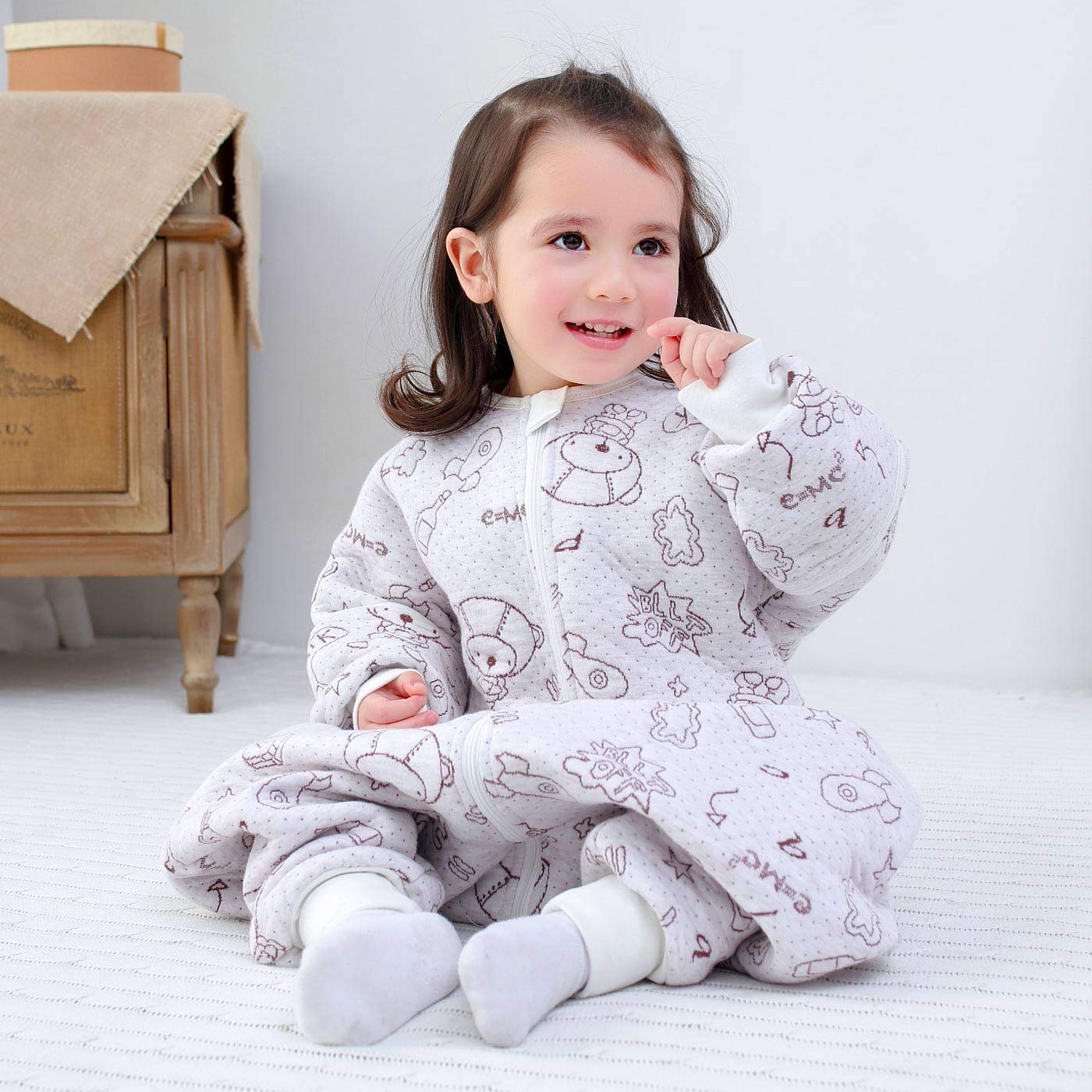 Happy Cherry 0-1 A/ños Saco de Dormir de Algod/ón para Beb/é Ni/ños Infantil Pijama Entero Transpirable Caliente para Oto/ño Invierno 1-2.5 TOG