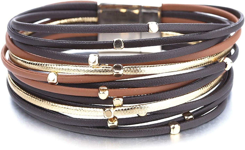 Daawqee Brazalete,Mujeres Hombres Pulseras,Metal Beads Genuine Leather Bracelets For Women Slim Strips Boho Multilayer Wide Wrap Bracelet Femme Jewelry