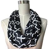 Pop Fashion Women Chain Link Pattern Infinity Scarf Wrap Scarf with White Zipper Pocket, Infinity Scarves