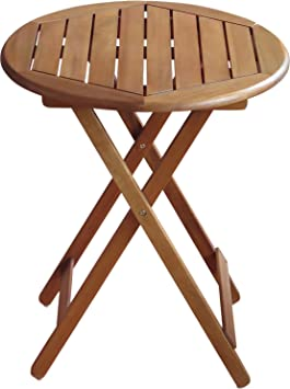 Colourliving® Table pliante table de jardin en bois massif Acacia Table  Rond 60 cm en bois meubles de jardin