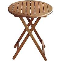 Colourliving® Table pliante table de jardin en bois massif Acacia Table Rond 60cm en bois meubles de jardin