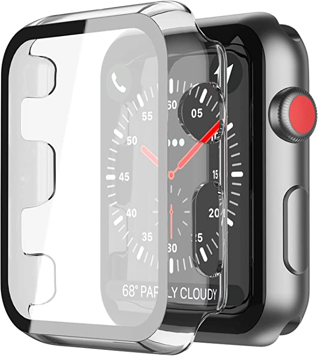 [2Pack] Misxi Transparent Hard Case Compatible with Apple Watch Series 3 Series 2 38mm, Hard PC Case Slim Tempered Glass Screen Protector Overall Protective Cover for iwatch
