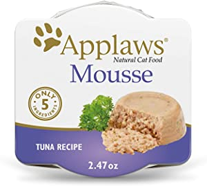 Applaws Mousse Wet Cat Food, Grain Free, Only 5 Ingredients, 2.5oz. (12 Pack) (Tuna in Broth)
