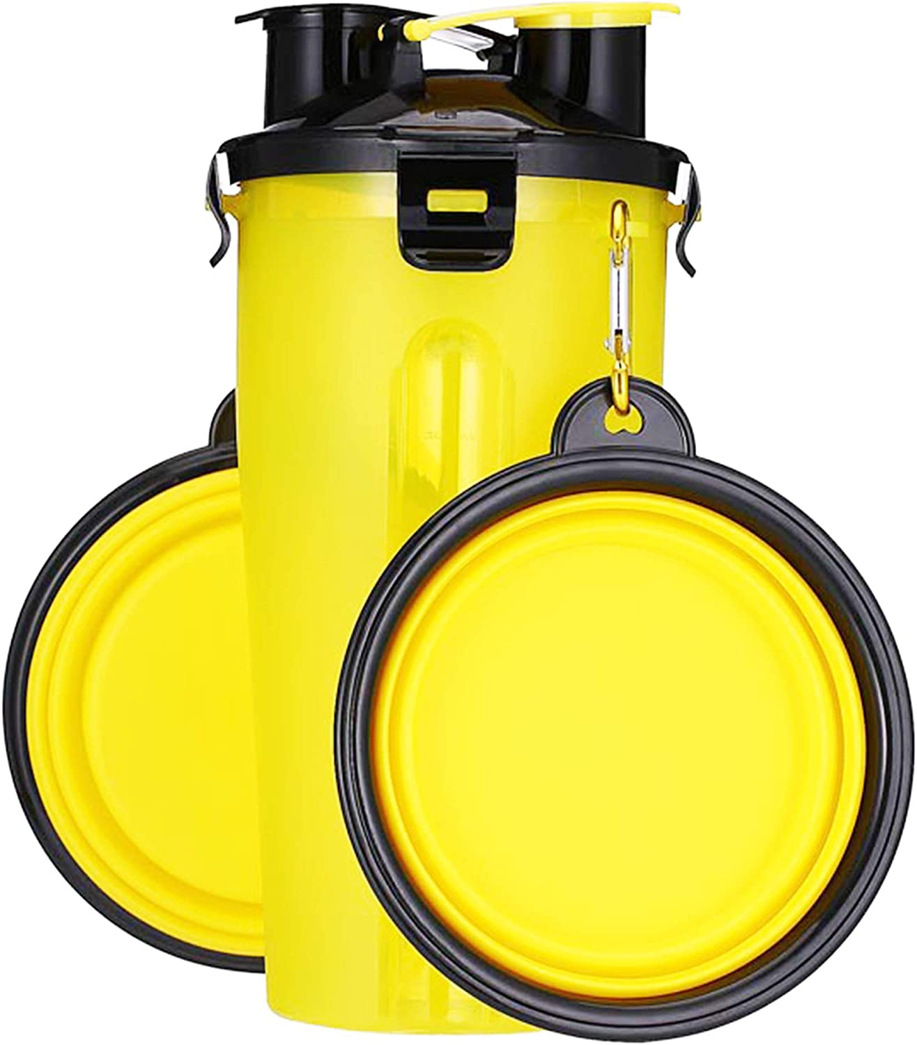 UPSKY Dog Water Bottle Dog Bowls for Traveling Pet Food Container 2-in-1 with Collapsible Dog Bowls, Outdoor Dog Water Bowls for Walking Hiking Travelling … (Yellow)