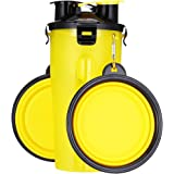 Dog Water Bottle Dog Bowls for Traveling Pet Food Container 2-in-1 with Collapsible Dog Bowls, Outdoor Dog Water Bowls…