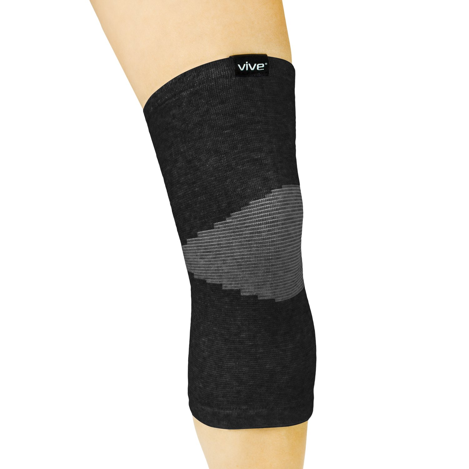 Vive Knee Sleeve (Pair) - Bamboo Charcoal Elastic Compression Brace - Support for Improved Circulation, Recovery, Arthritis Joint Pain - Sports, Running, Jogging - Men, Women (Black)