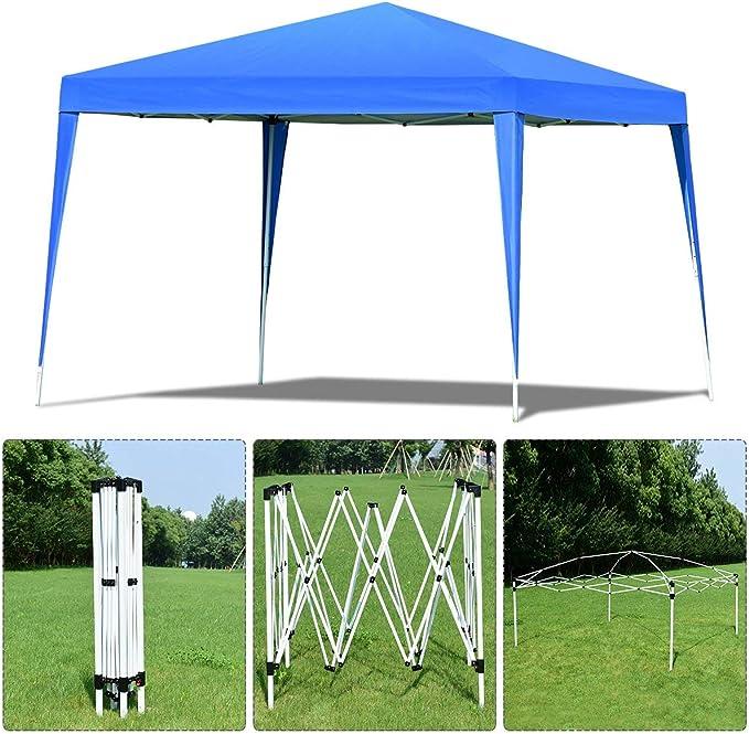 COSTWAY 3 x 3 M Pabellón de Jardín Plegable Carpa para Fiestas Cerveza Gazebo Bolsa de Transporte (Azul)