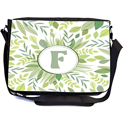Rikki Knight Letter F Monogram Green Leaves Foliage Design Design Multifunction Messenger Bag - School Bag - Laptop Bag - with padded insert for School or Work - includes Pencil Case