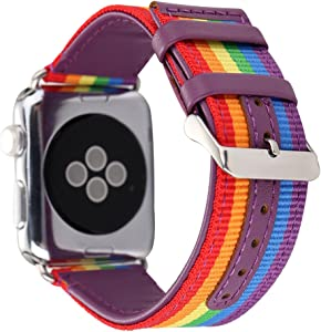 HUANLONG New Nylon Band Compatible with Apple Watch 38/40/42/44mm, Nylon with Leather Buckle Smart Strap Compatible for iwatch Series 1/2/3/4/5 (Rainbow, 38mm/40mm)