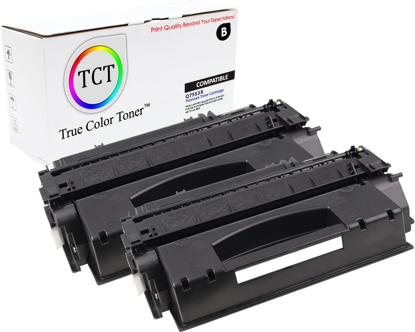 2PK Q7553X 53X Black Toner Cartridge For HP LaserJet M2727NF M2727NFS MFP P2015