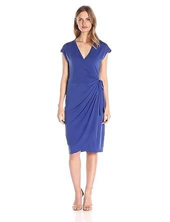 Lark & Ro Women's Classic Cap-Sleeve Wrap Dress, Marine, X-Small