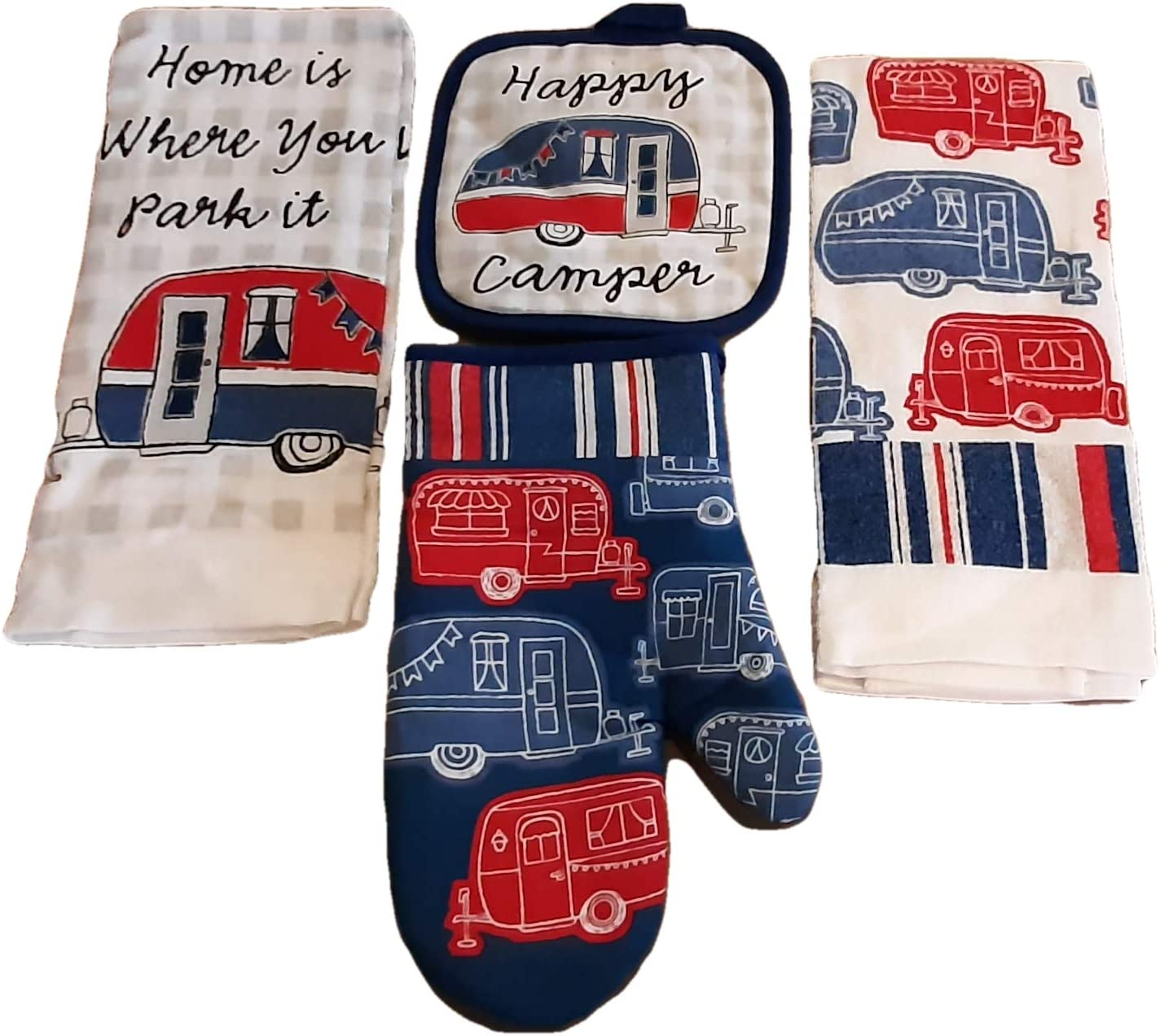 Happy Camper Dish Towel Set Home is Where You Park It! 2 Kitchen Towels, Pot Holder and Oven Mitt