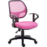 IDIMEX Chaise de Bureau pour Enfant Cool Fauteuil pivotant et Ergonomique avec accoudoirs et Dossier ventilé, siège à roulettes avec Hauteur réglable, revêtement Mesh Rose