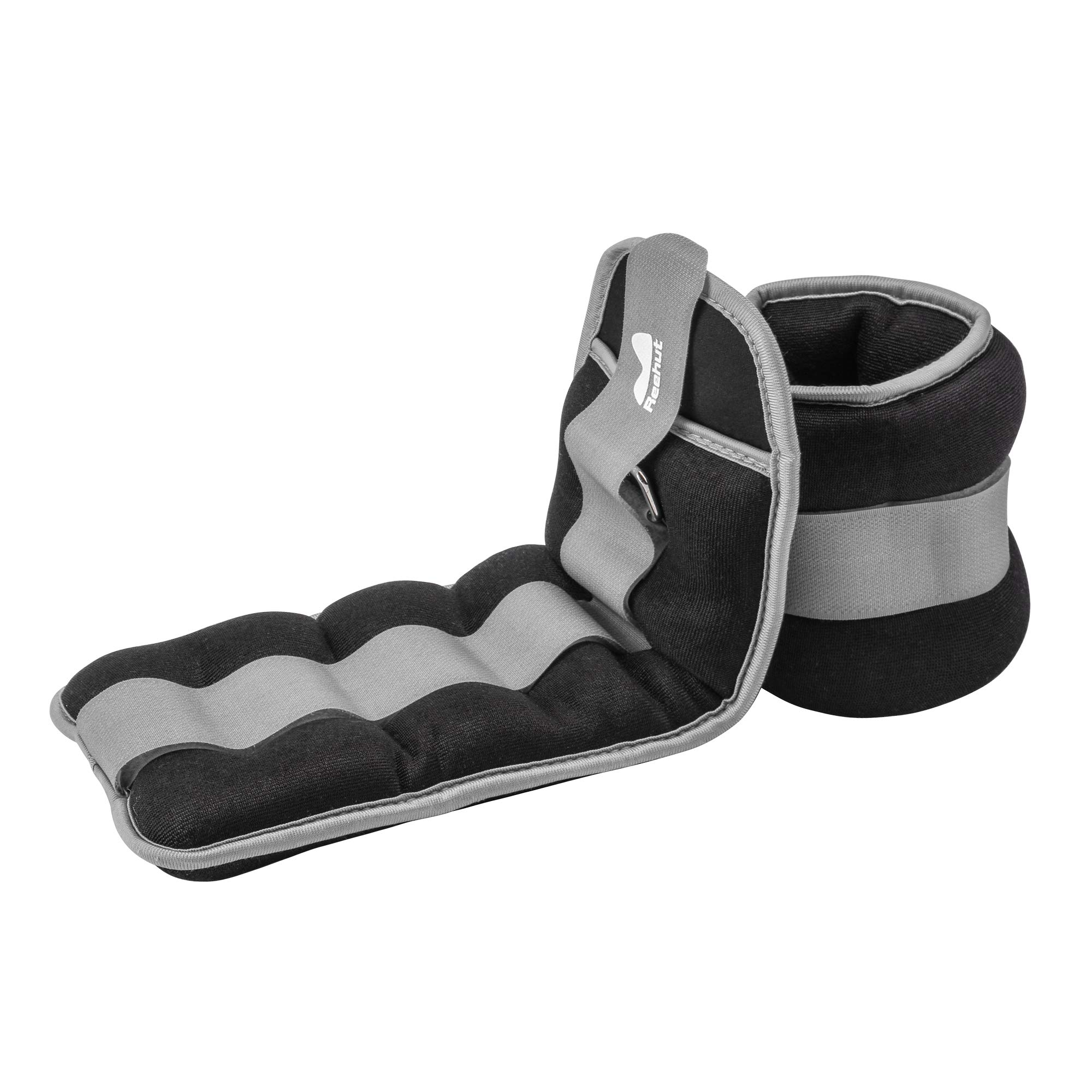 REEHUT Ankle/Wrist Weights (1 Pair) with Adjustable Strap for Fitness, Exercise, Walking, Jogging, Gymnastics, Aerobics, Gym - Gray - 5 lbs x 2
