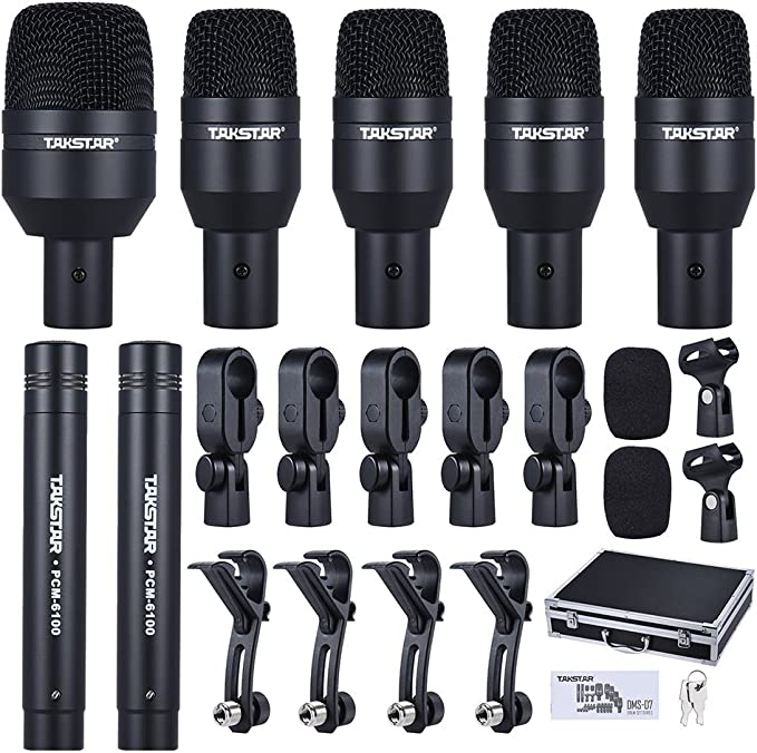 Ammoon Wired Microphone Mic Kit For Drum Set With Standard Mounting Thread Carrying Case 1 Big Drum Microphone 4 Small Drum Microphones 2 Condenser Microphones Type 2 Musical Instruments Amazon Com