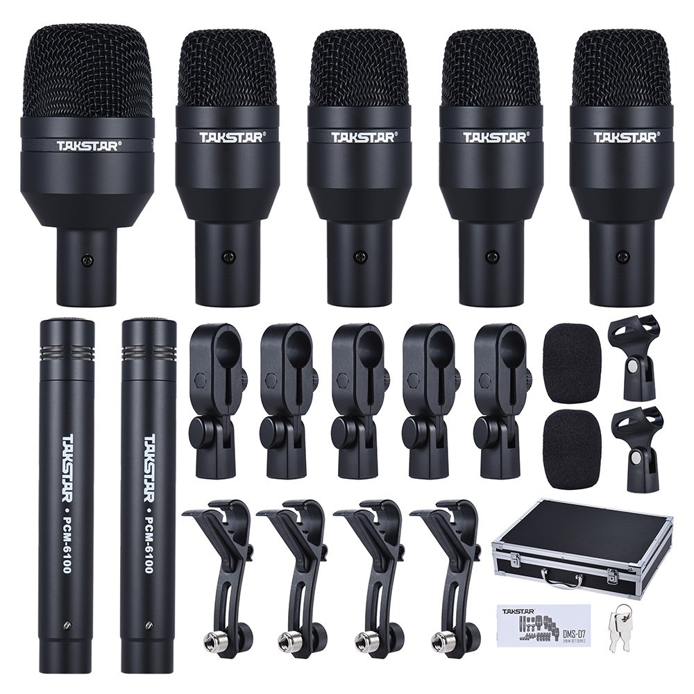 ammoon TAKSTAR DMS-7AS Wired Microphone Mic Kit for Drum Set with Standard Mounting Thread Carrying Case 1 Big Drum Microphone 4 Small Drum Microphones 2 Condenser Microphones IXC1448276437279UF
