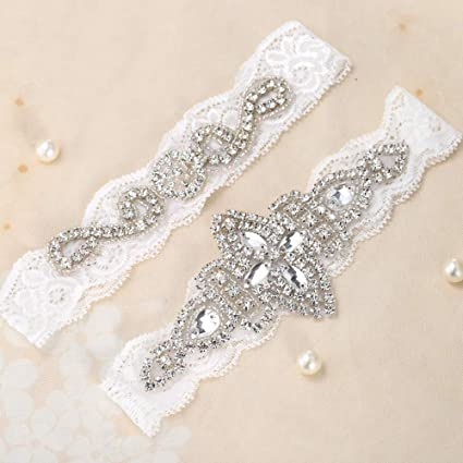 2d815d8c575 Image Unavailable. Image not available for. Color  FANGZHIDI Sliver  Rhinestones Flesh Color and White Lace Wedding Bridal Garter ...