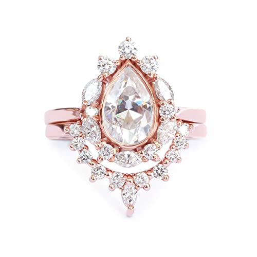028b23274438b Amazon.com: Pear Moissanite & Diamonds, Unique Engagement Ring, Halo ...