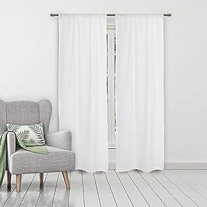 kensie Aaliyah Seersucker Window Curtain Set, 40x84, White
