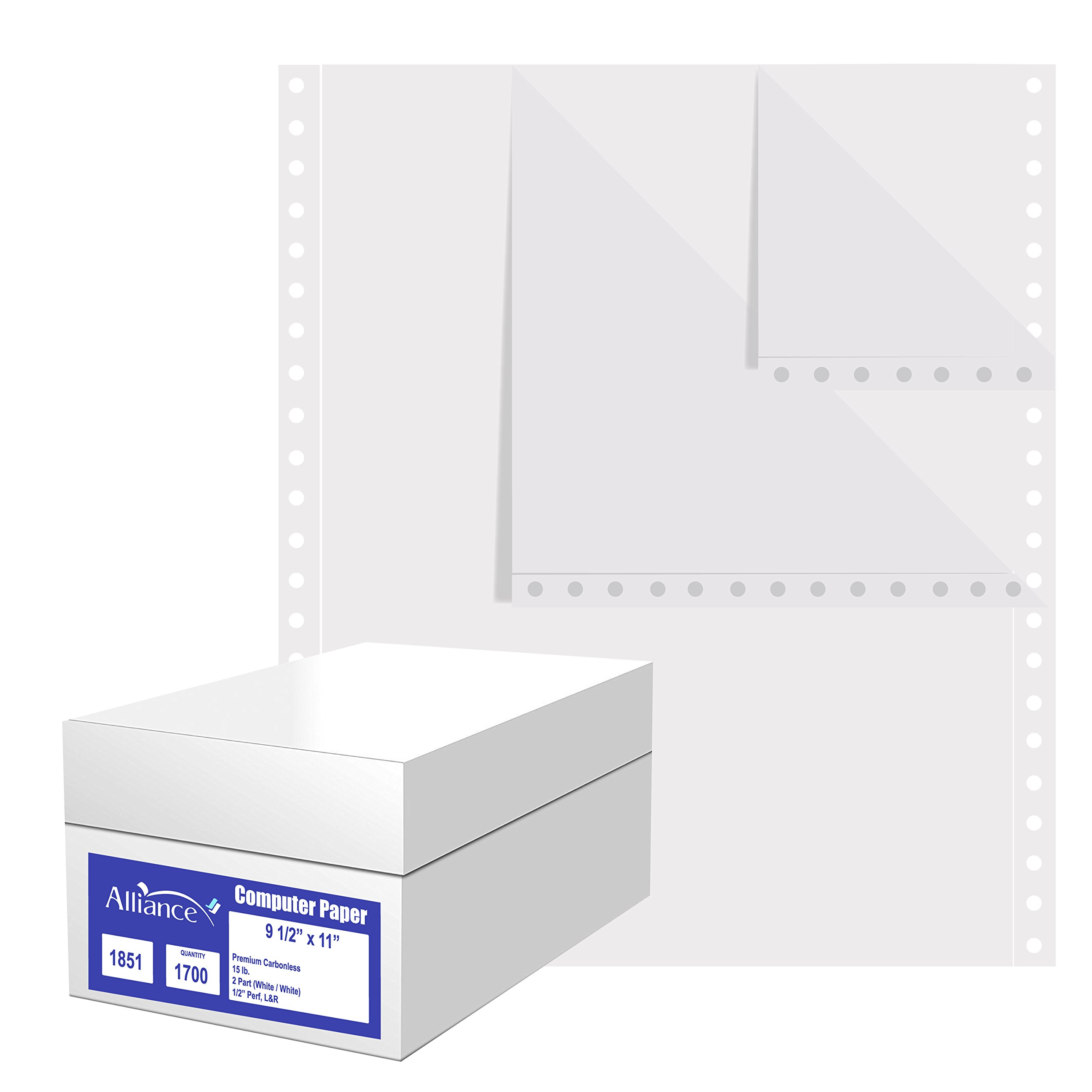 Alliance Premium Carbonless Computer Paper, 9.5 x 11, Blank Left and Right Perforated, 15 lb, 2-Part White/White (1,700 Sheets) - Made In The USA