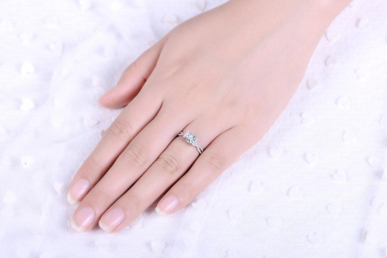 Amazon.com: Round Cut Twist Shank Diamond Engagement Ring 14k White ...
