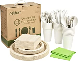 Delihom Biodegradable Dinnerware Set 172pcs Eco Friendly Party Supplies Includes Biodegradable Plates Napkins, Cups Forks, Knives and Spoons Compostable Picnic Disposable Set