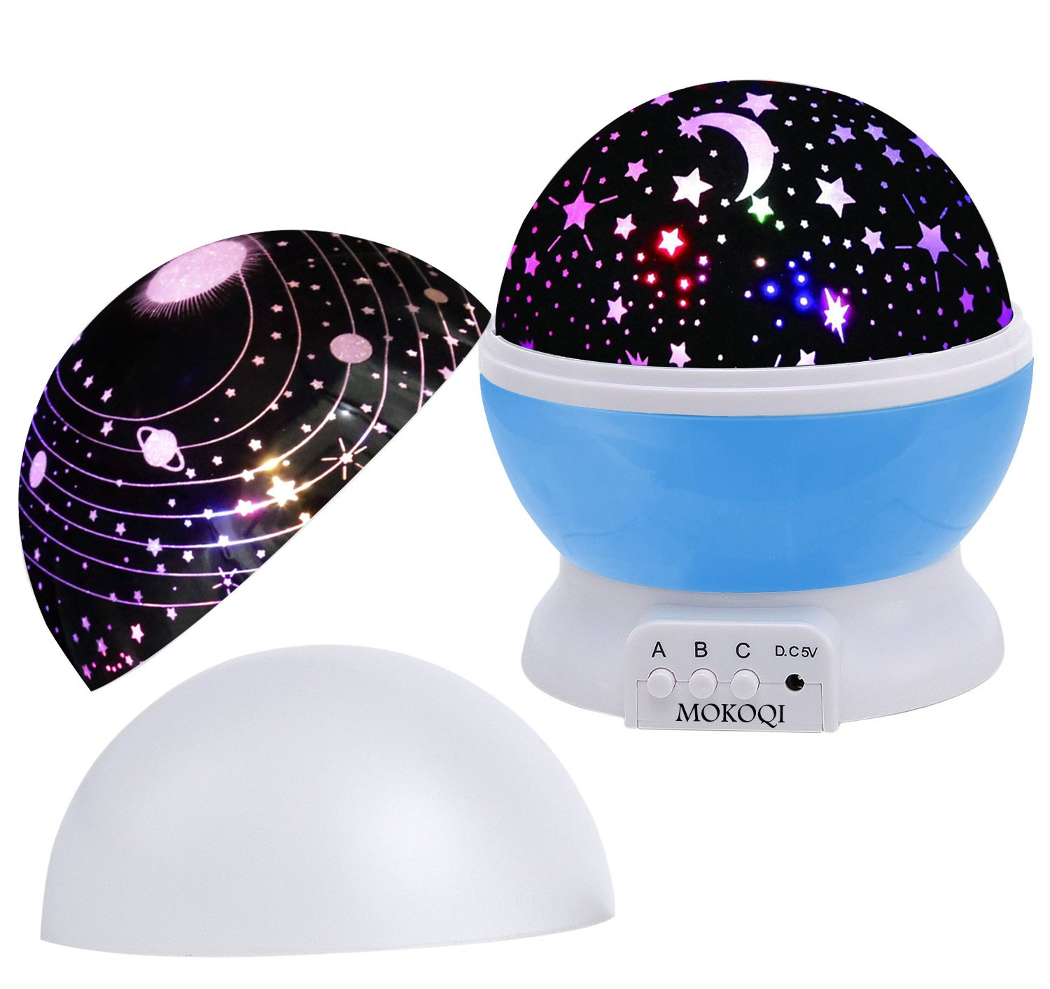 CD5101000 MOKOQI Baby Night Light Lamps For Bedroom Romantic 360 Degree Rotating Star with Sky Moon Cover Cosmos Cover Projector Lights Color Changing LED For Kids Girls Boys Baby Nursery Gift Black-2 Lids