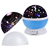 Amazon Price History for:MOKOQI Baby Night Light Lamps For bedroom Romantic 360 Degree Rotating Star with Sky Moon Cover +Cosmos Cover Projector Lights Color Changing LED For Children Kids Girls Baby Nursery Gift(Blue)