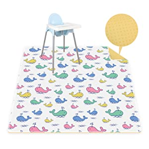 Splat Mat for Under High Chair, Washable Baby High Chair Mat for Dropping Food Waterproof Portable & Anti-Slip Floor Splash Mat. (Whale 51