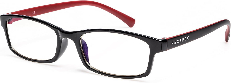 PROSPEK - Gafas para ordenador Premium – Professional – Con filtro de luz azul y antirreflejante (+0.00 Dioptrías | Rojo y Negro | Tamaño Pequeña)