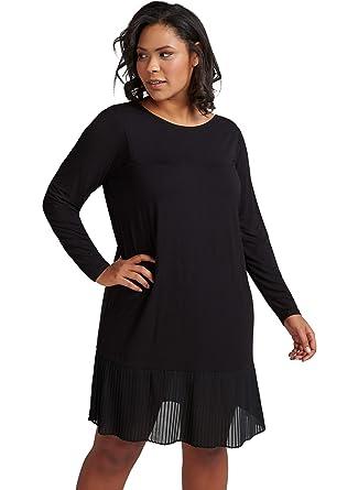 e907b175a4adf3 Zizzi Damen Kleid Plissee-Falten Langarm Cocktailkleid Große Größen 42-56